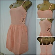 NEW TOPSHOP SKATER DRESS FIT & FLARE PEACH FLORAL EMBROIDERED SUMMER 8 - 14