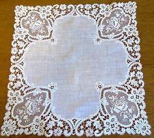 Antique Vintage Wedding Handkerchief Linen Chemical Lace Point de Gaze Hanky