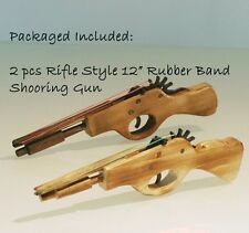 "2 PCS 12"" HANDCRAFTED COWBOY  WOODEN RIFLE RUBBER BAND SHOOTING TOY GUN STOCKING"