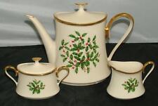 Lenox Holiday Dimension Coffee / Tea Pot Creamer & Sugar Tea Set Mint