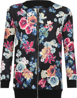 Ladies Plus Size Colourful Floral Printed Summer Style Curve Bomber Jacket Top