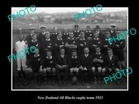 OLD 8x6 HISTORIC PHOTO OF THE NEW ZEALAND ALL BLACKS RUGBY UNION TEAM 1921