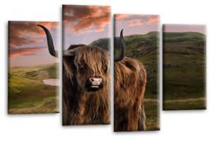 Le Reve Scottish Highland Wall Art Grey Brown Green Split Panel Print Framed