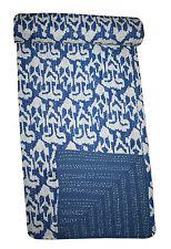 Indian Kantha Throw Ikat Print Kantha Quilt Reversible Bedspread Cotton Gudri