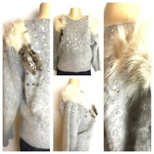Womens Mink Sweater Fur Vintage Rare lux Mohair Sequin and pearl Size M