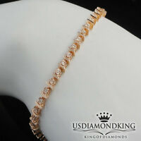 LADIES 10k ROSE GOLD ON STERLING SILVER GENUINE DIAMOND S LINK TENNIS BRACELET