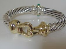 $3200 DAVID YURMAN 14K GOLD, SILVER GARNET, GREEN ONYX, BUCKLE BRACELET