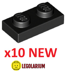 LEGO Parts NEW - Pack of 10 Plate 1x2 3023 BLACK