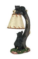 Rustic Black Bear Cubs Desk Lamp Bending Branch Burlap Shade Decor Table Light