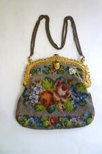 LOVELY ANTIQUE VICTORIAN MICRO BEADED BAG with ORMOLU FRAME and CHAIN HANDLE