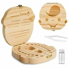 Baby Tooth Box, Wooden Kids Keepsake Organizer For Teeth, Cute Children With And