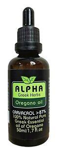 ALPHA OREGANO OIL 100% Wild Pure Greek over 87% Carvacrol Undiluted Oregano Oil