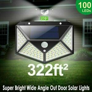 100LED Solar Powered PIR Motion Sensor Light Outdoor Garden Wall Light Bright UK