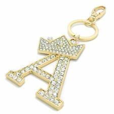 Rhinestone Stud Crown Alphabet Initial Letter A-Z Keychain Key Ring Bag Charm