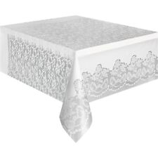 """Classic Plastic White Lace Table Cover,108"""" x 54"""", Brand New"""