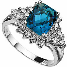 4.05 CARAT TW LONDON BLUE TOPAZ & WHITE SAPPHIRE 14K SOLID WHITE GOLD RING