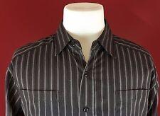 Machine Skull Guitar Graphic Brown Striped Button Front Long Sleeve Shirt Medium