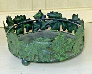 """Round candle holder green ivy leaves surround holds 6"""" candle"""