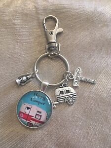 Caravan Cabochon Happy Camper Red Stripe Van Key Ring with Charms- New!
