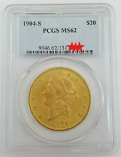 1904-S US $20 Gold Liberty Head Double Eagle - PCGS MS62 Gold Coin