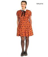Hell Bunny 40s 50s Brown Mini Dress Pin Up VIXEY Vixen Fox Print All Sizes