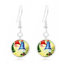 Christmas Ball Tibet Silver Dome Photo 16MM Glass Cabochon Long Earrings #77