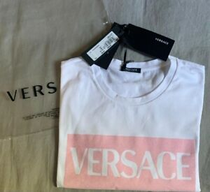 NEW Versace t-shirt with logo A89463 A228806 Bianco Rosa Baby AUTHENTIC NWT