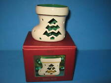 Lenox Stocking Seasonal Brites Votive Candle Holder With Box Green & Ivory Color