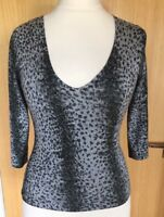 Oasis Ladies Blouse Top 10 Stretchy Sparkly Leopard Animal Print Party Evening