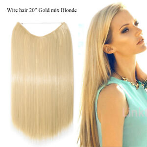 Hidden Secret Headband Wire in Hair Extensions Thick as Human Gold Mix blonde TF