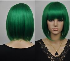 NEW green short straight cosplay full WIG + wig cap   AE199