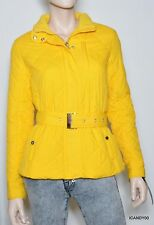 Nwt Lauren by Ralph Lauren Quilted Jacket Parka Belted Coat Top ~Mango Yellow *M