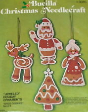 1978 Bucilla Christmas Spice Cookies Felt Ornaments (4) Kit NIP