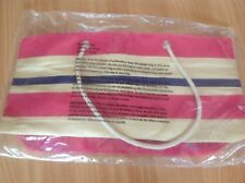 DSW Beach Large Tote Bag Pink Blue Cream Striped W inside zippered pocket NEW