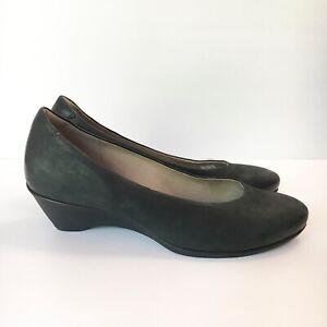 ECCO Black Leather Low Heel Pump Shoe Career Business Comfort Size Women's 40