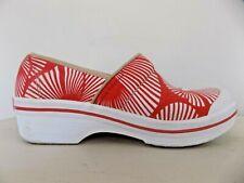 Dansko Vegan Clog Shoes Sanibel Volley Canvas Red Palm Frond White Fan Size 38