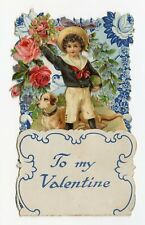 Antique 1920's Fold-Out Crepe Paper Doily Valentine   Little Boy and Dog Pop-Up