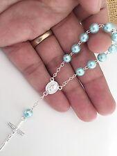 50 Pc Mini Rosary LIGHT BLUE Baptism Favors/ Recuerdos De Bautizo/mini Rosary