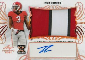 TYSON CAMPBELL 2021 LEAF TRINITY RC RPA JUMBO 5 COLOR PATCH/AUTO BRONZE!!🔥