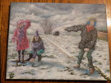 Original acrylic painting Snowball Fight signed