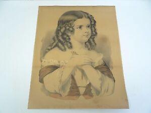 Antique Original Currier & Ives My Pet Bird Girl Nassau NY Print Lithograph Art