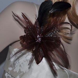 Stoff Blüte Blume Federn Brosche BRAUN Fascinator Ansteckblume Haarschmuck