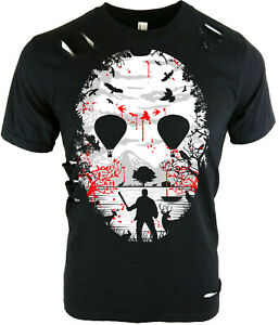 Horror Movie Mask   Men's Distressed T-Shirt   S to Plus Size   killers lake