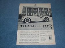 """1958 Triumph TR3 Vintage Sports Car Ad """"World's Greatest Stopping Power"""""""