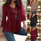 Plus S-5XL ZANZEA Women Lace Crochet Floral Bell Sleeve Loose Blouse Tops Shirt