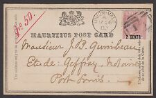 "Mauritius 1880 postcard inscribed ""Mauritius Post Card"" sent to Port Louis"