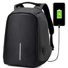 Anti-Theft Waterproof Backpack External USB Charge Port Laptop School Bag Black
