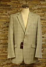 Brook Taverrner Grey and Beige Checked Wool Silk and Linen Jacket Size 40 New