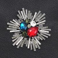 Betsey Johnson Crystal Rhinestone Unique Flower Charm Brooch Pin Jewelry Gift