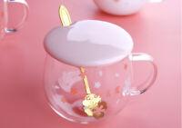 Sakura cup + cover + spoon mugs coffee tea glass fashion gift present lovely